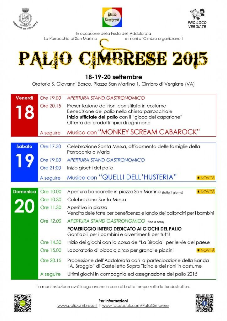 Programma Palio Cimbrese 2015
